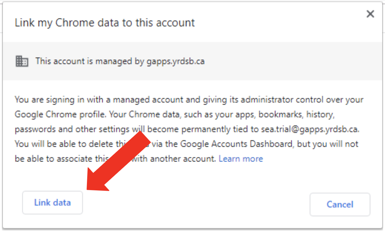 Link my Chrome data account pop up.  Arrow is pointing at Link Data button.