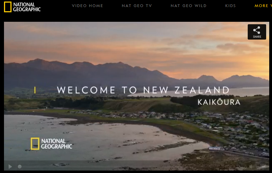 An image of the National Geographic website showing a video representing their brand partnership with New Zealand