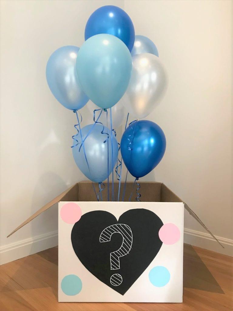 caixa de revelação de gênero faça você mesmo com balões