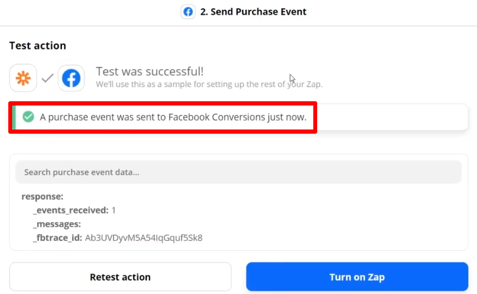 A successful test of sending a purchase event to the Facebook Conversions API