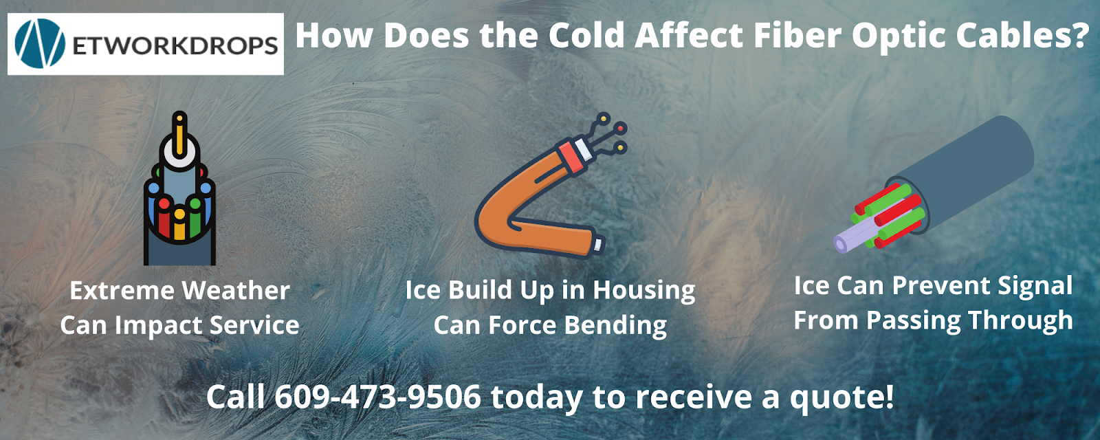 Infographic detailing how cold weather can affect fiber optic cables