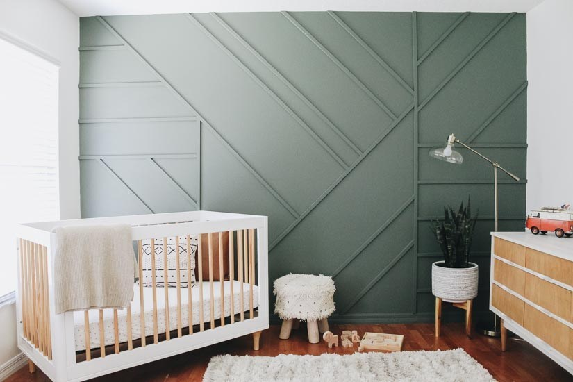 Paneling An Accent Wall in Geometric Style