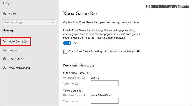 Điều chỉnh phím tắt Xbox Game Bar