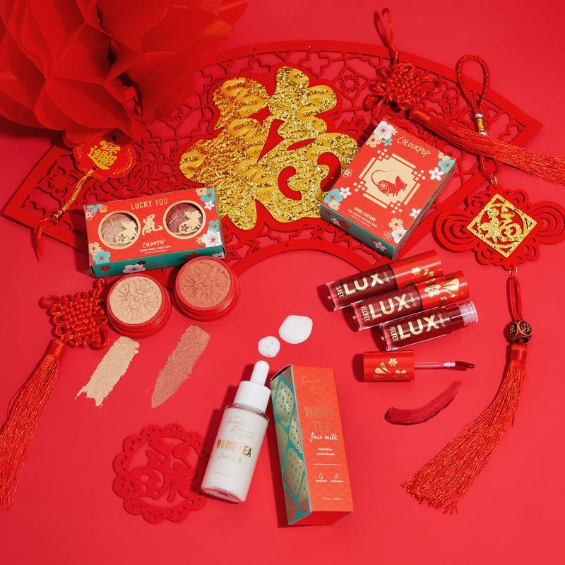 ColourPop Chinese New Year of the Rat Lunar New Year Collection Set Includes the Good Fortune Lux Liquid Lip Bundle, Lucky You Super Shock Cheek Duo, and White Tea Face Milk from Fourth Ray Beauty Packaging