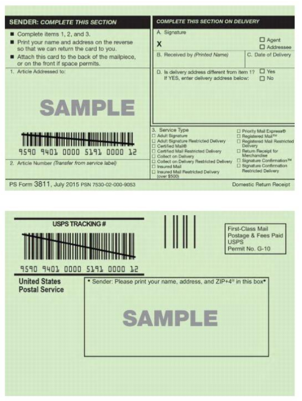 Image of the front and back of a physical USPS return recipt