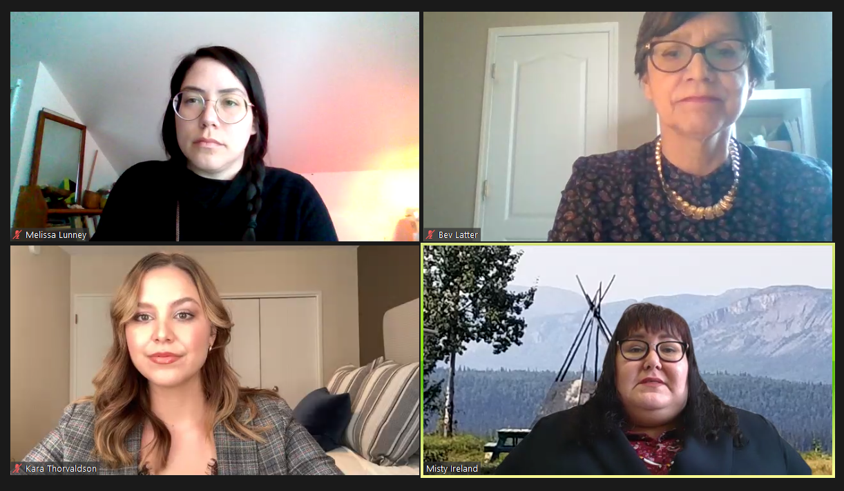 A Screenshot featuring Melissa Lunney, Bev Latter, Kara Thorvaldsonand Misty Ireland, with Misty speaking.
