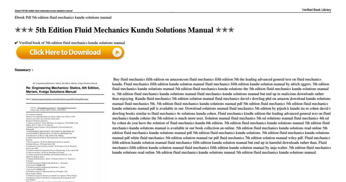 5th edition fluid mechanics kundu solutions manualpdf google drive fandeluxe Image collections