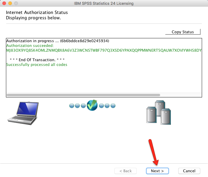 Mac SPSS Authorization Complete