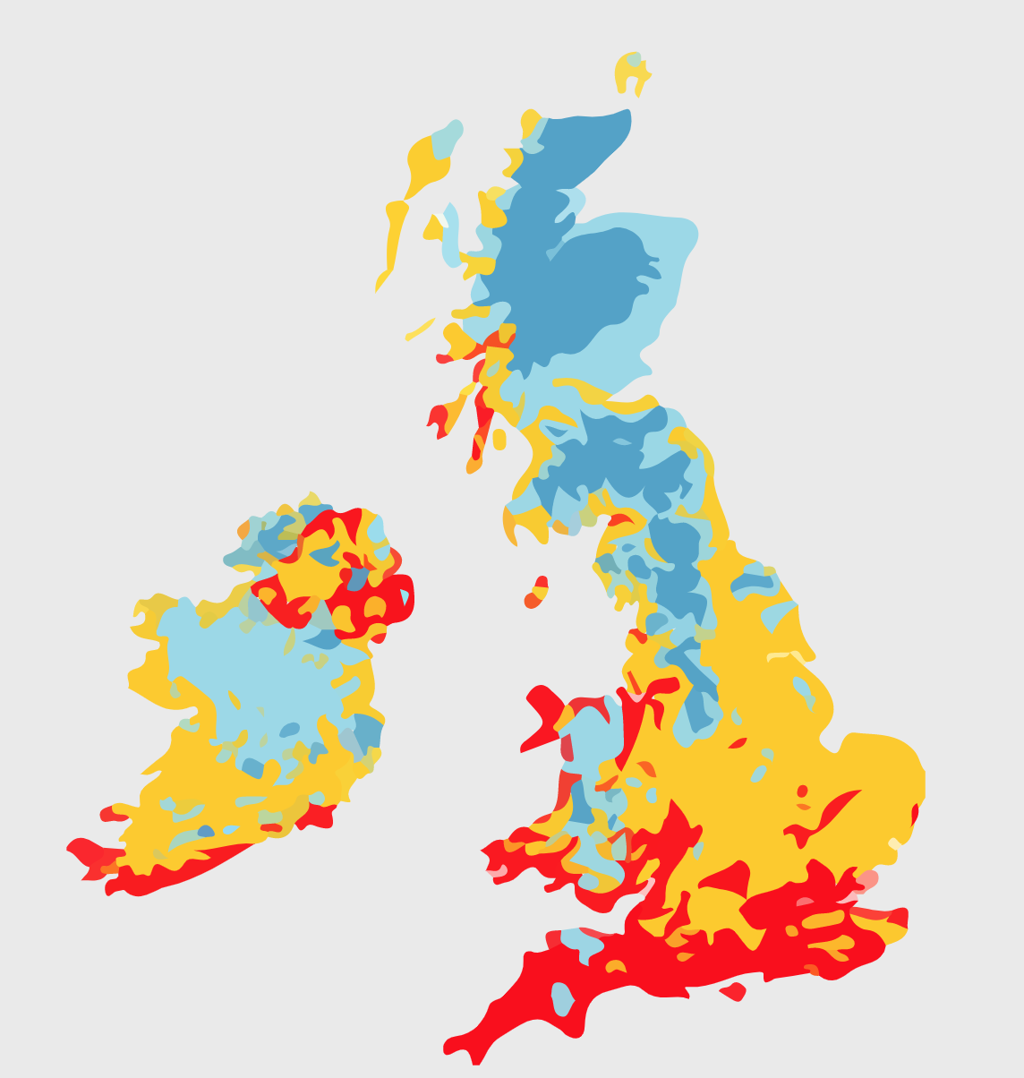 Thermal zones showing the local climates across the UK and Ireland