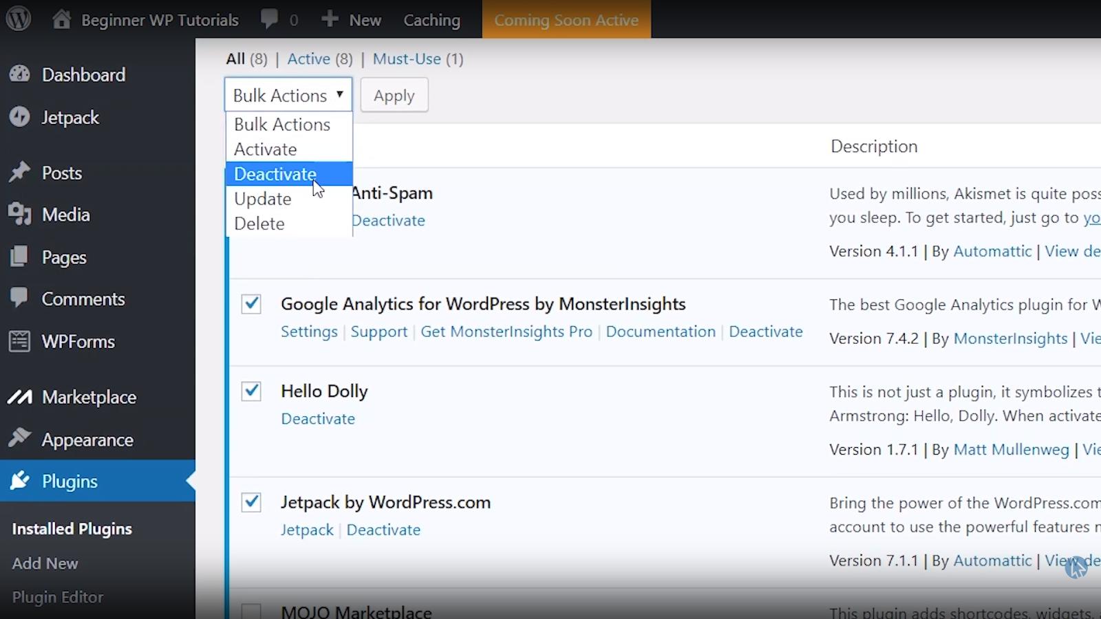 deactivate plugins wordpress tutorial for beginners