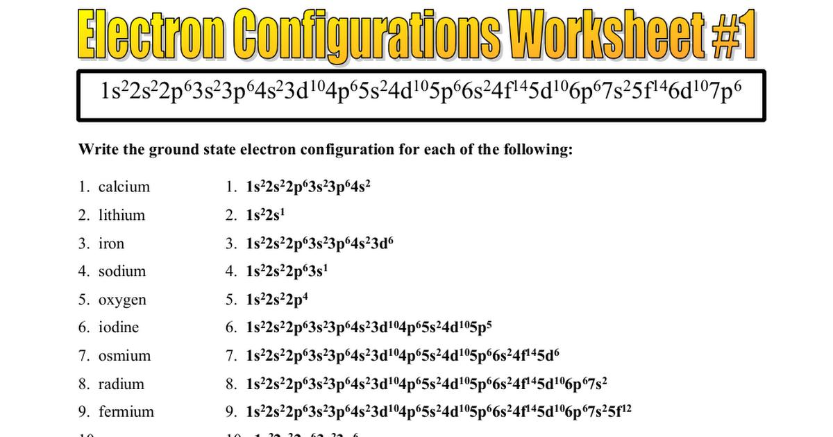 Electron Configurations Worksheet 1 Key Doc Google Drive