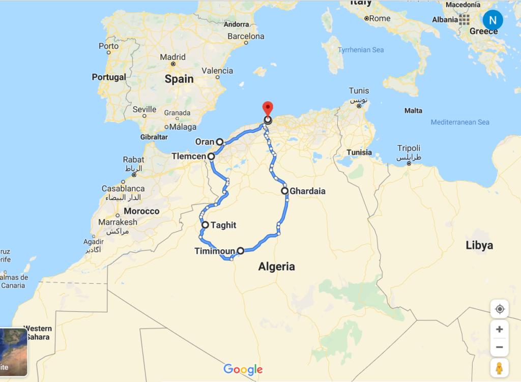 algeria itinerary, algiers, ghardaia, timimoun, taghit, tlemcen, oran