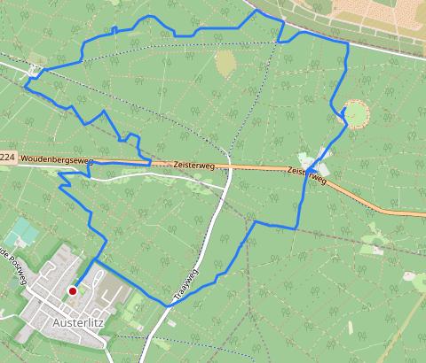 Routebeschrijving voor 9 kilometer wandelroute in Austerlitz