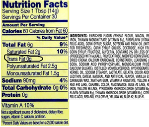 Nutrition Fats Label showing zero trans fat