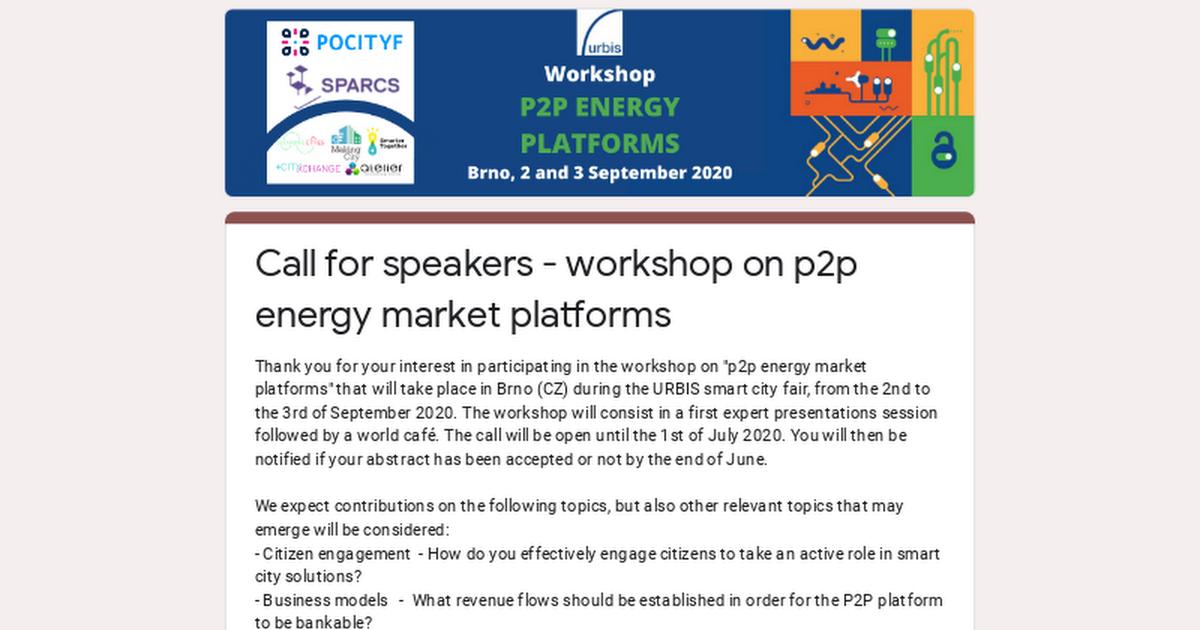 Call for speakers - workshop on p2p energy market platforms