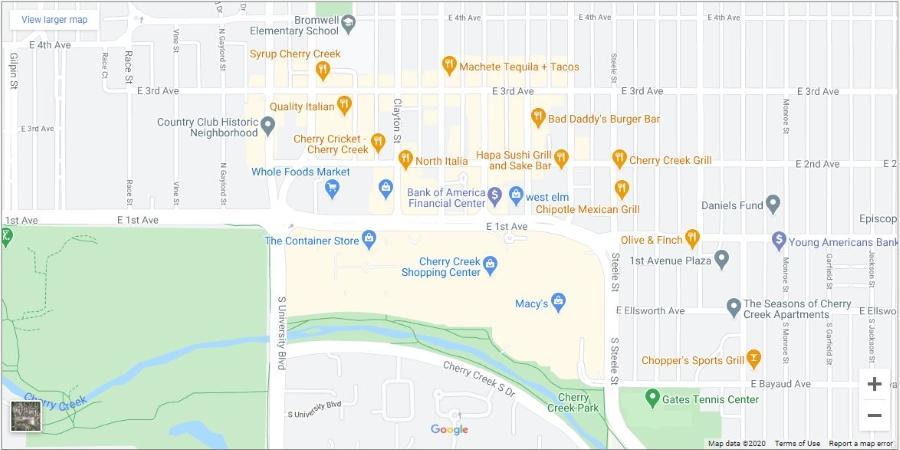 map of Cherry Creek, a Denver neighborhood