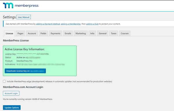 memberpress license setup