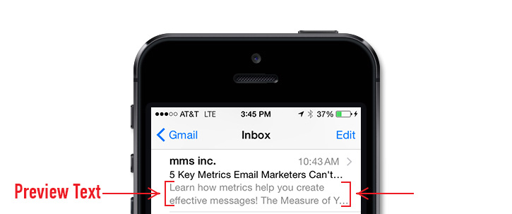 Optimized email text preview for mobile phones.