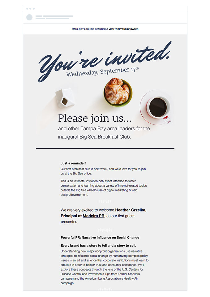 """You're invited"" event invitation email sample"