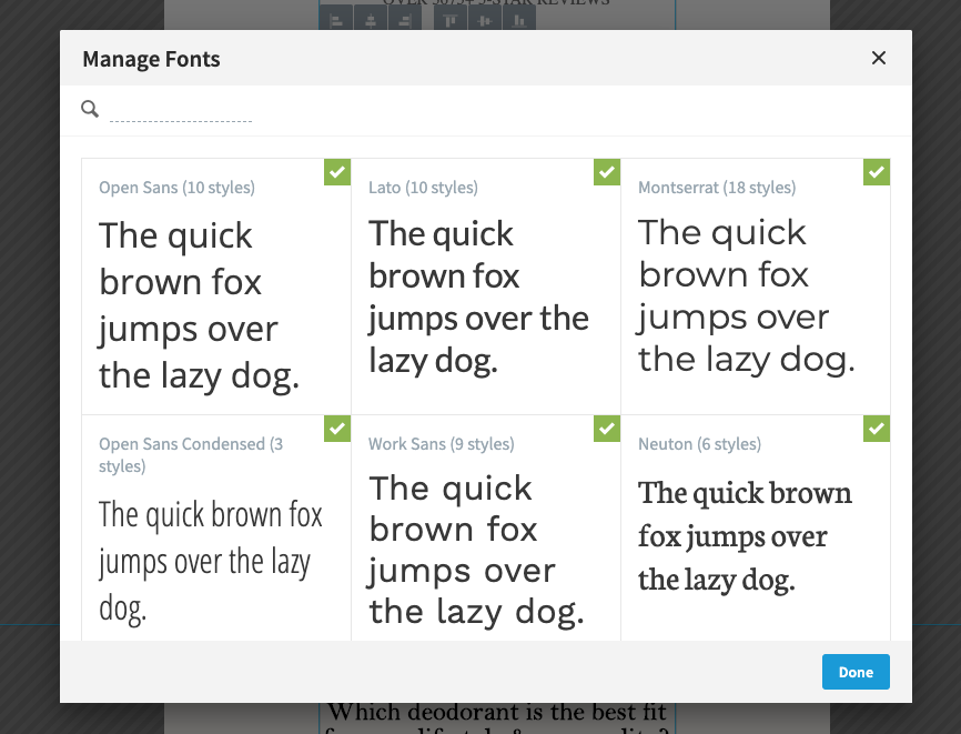 Google Fonts in Unbounce
