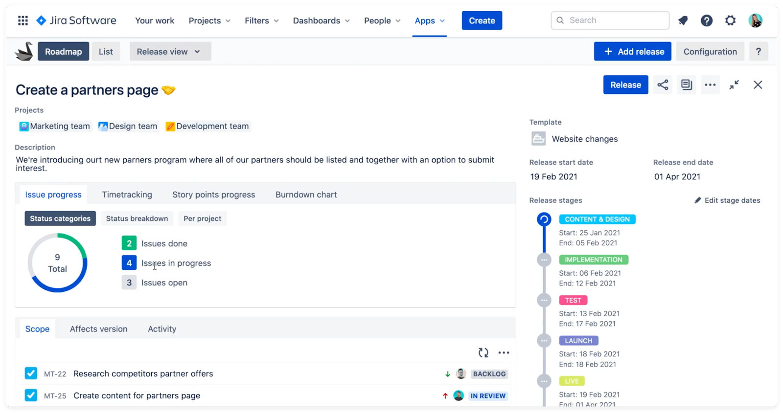Report panel in Swanly - project management for Jira