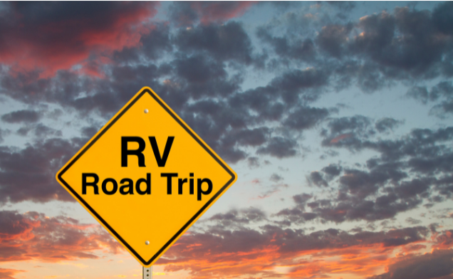 """sign that says """"rv road trip"""""""