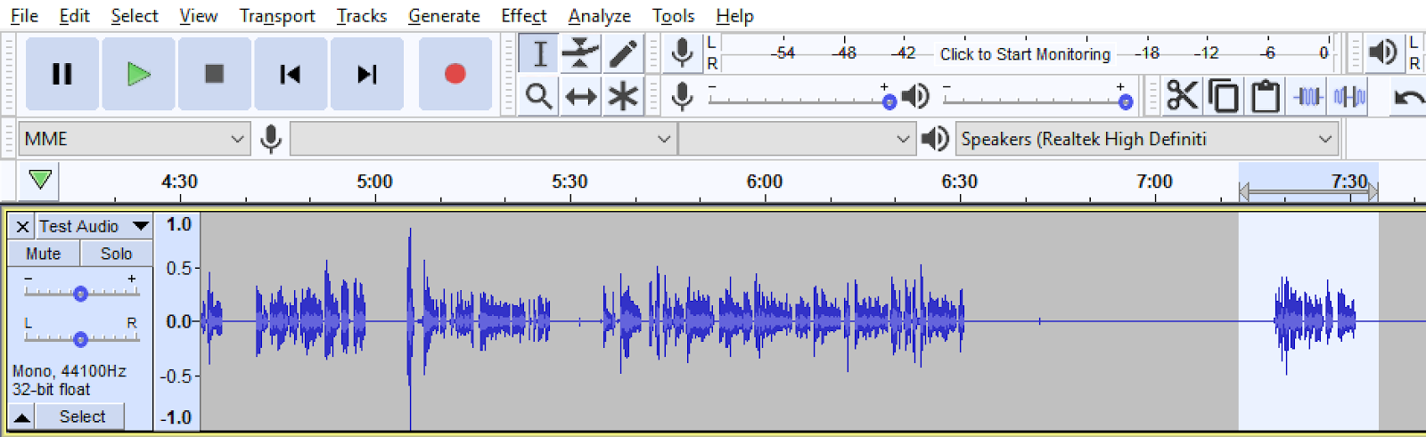 Audio file displayed in Audacity with a portion of the sound file highlighted