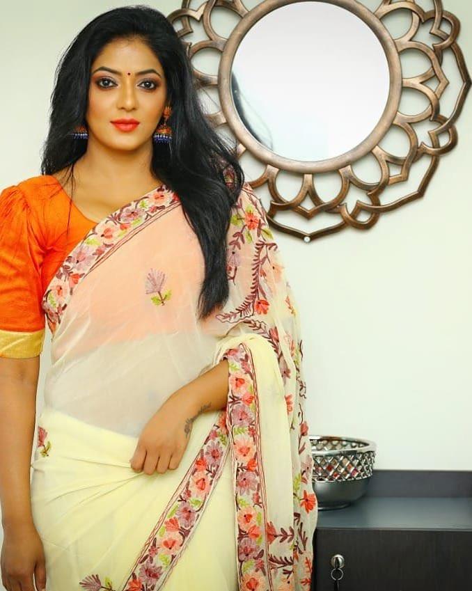 Tamil Actress Reshma pasupuleti in black transparent saree Navel Queens