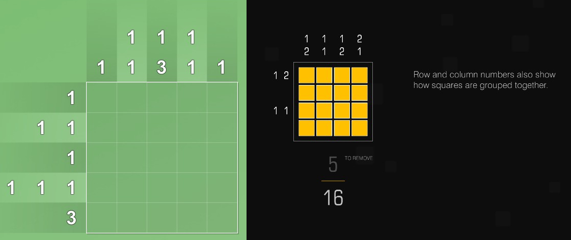 On the left, a grid-based puzzle on a green background. On the right, another grid-based puzzle with yellow squares, against a black background.