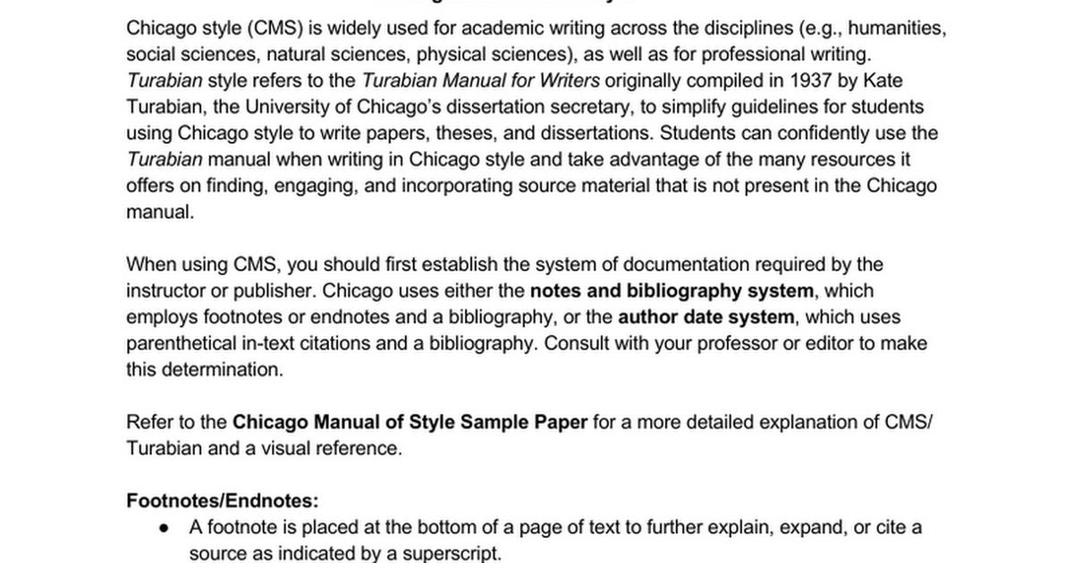 chicago style handout google docs