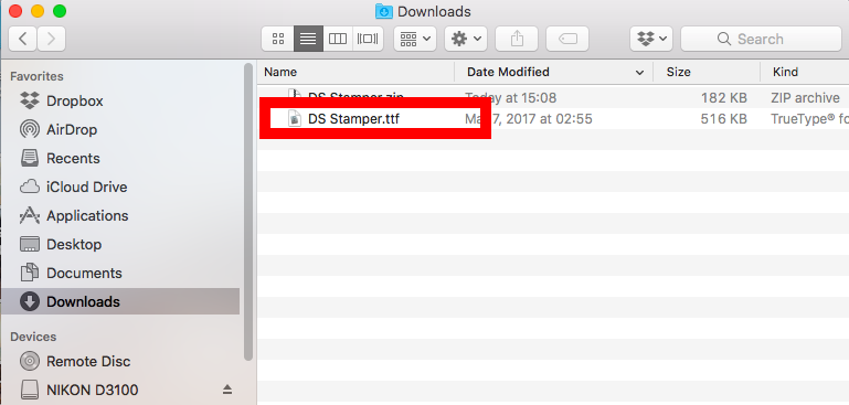Make a double click on the downloaded file with the .ttf extension - Mac