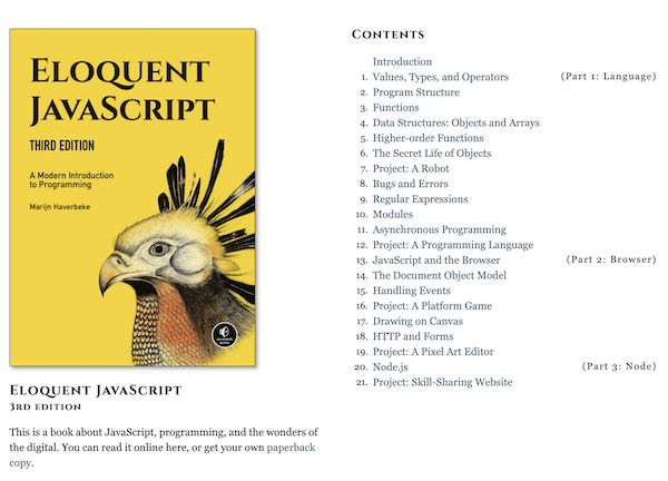 Screenshot of Eloquent JavaScript Third Edition Website