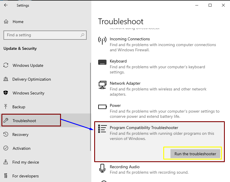 Run troubleshooter for Repairing or Booting Windows 10