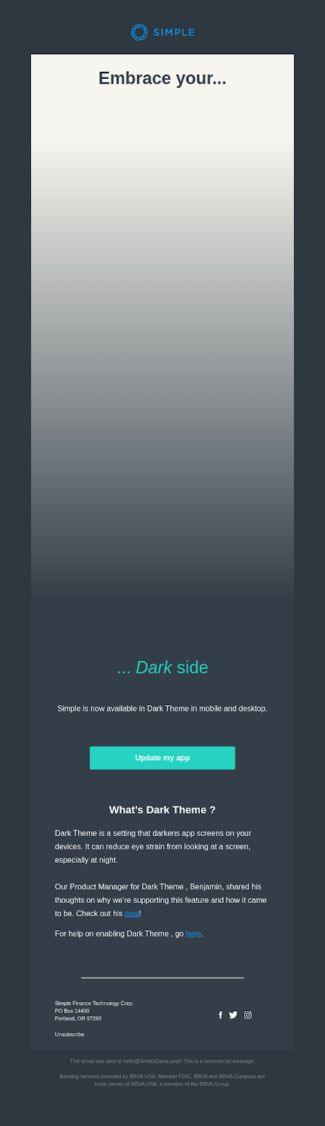 dark mode email