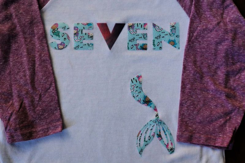 The Cutest DIY Birthday shirt for a  7 Year Old Mermaid Ever.