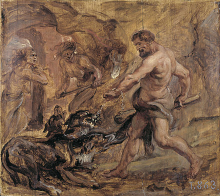 """Геркулес и Цербер"", П. Рубенс, 1636"