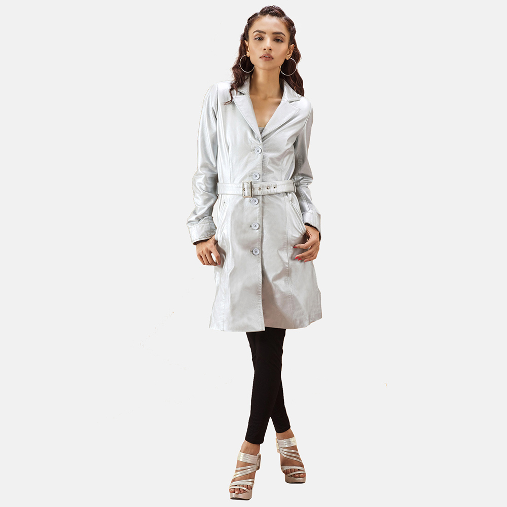 best silver trench coat women
