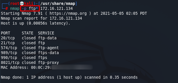 [NMAP Scan Any Port]: Scan FTP and HTTP ports using the port name wildcard. Source: nudesystems.com