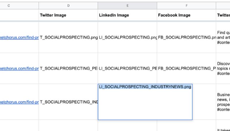 ejemplo de hoja de Google con datos parciales completados para twitter, linkedin, nombres de imágenes de Facebook como se acaba de crear en canva