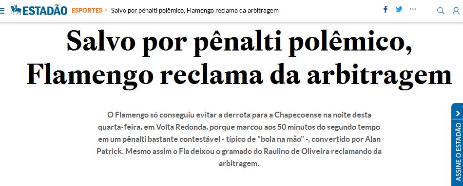 Flamengo reclama da arbitragem