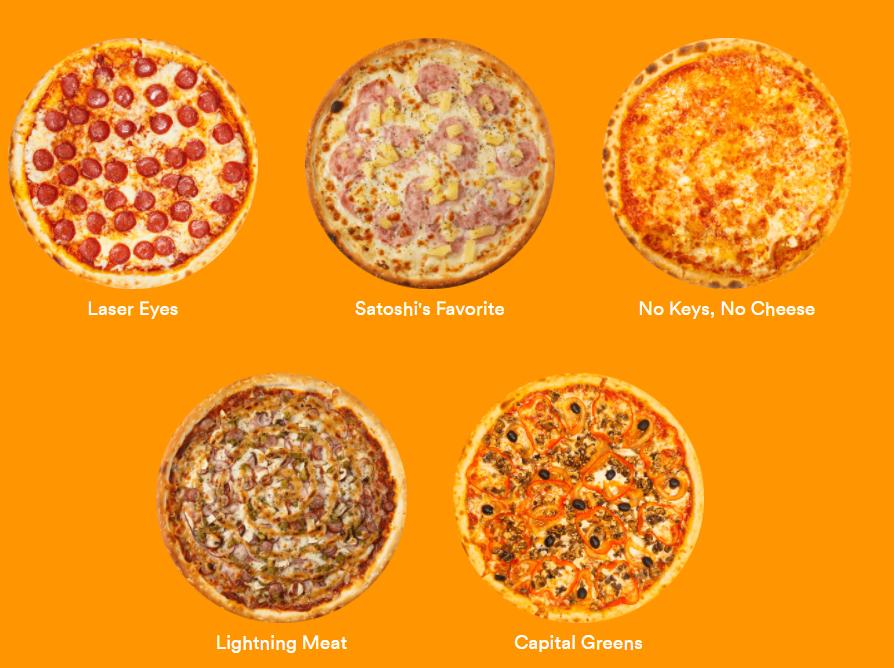Pizzas com temática do bitcoin