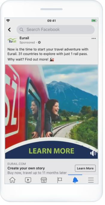 Image of Eurail retargeting ad on Facebook mobile