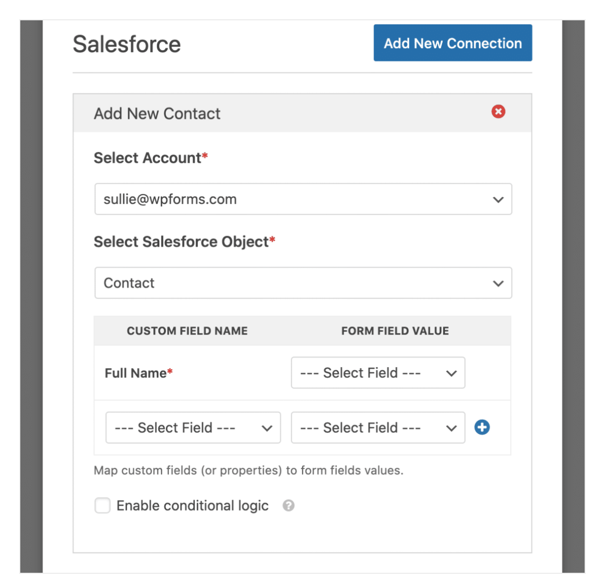 Mapping WPForm Fields With Salesforce Object