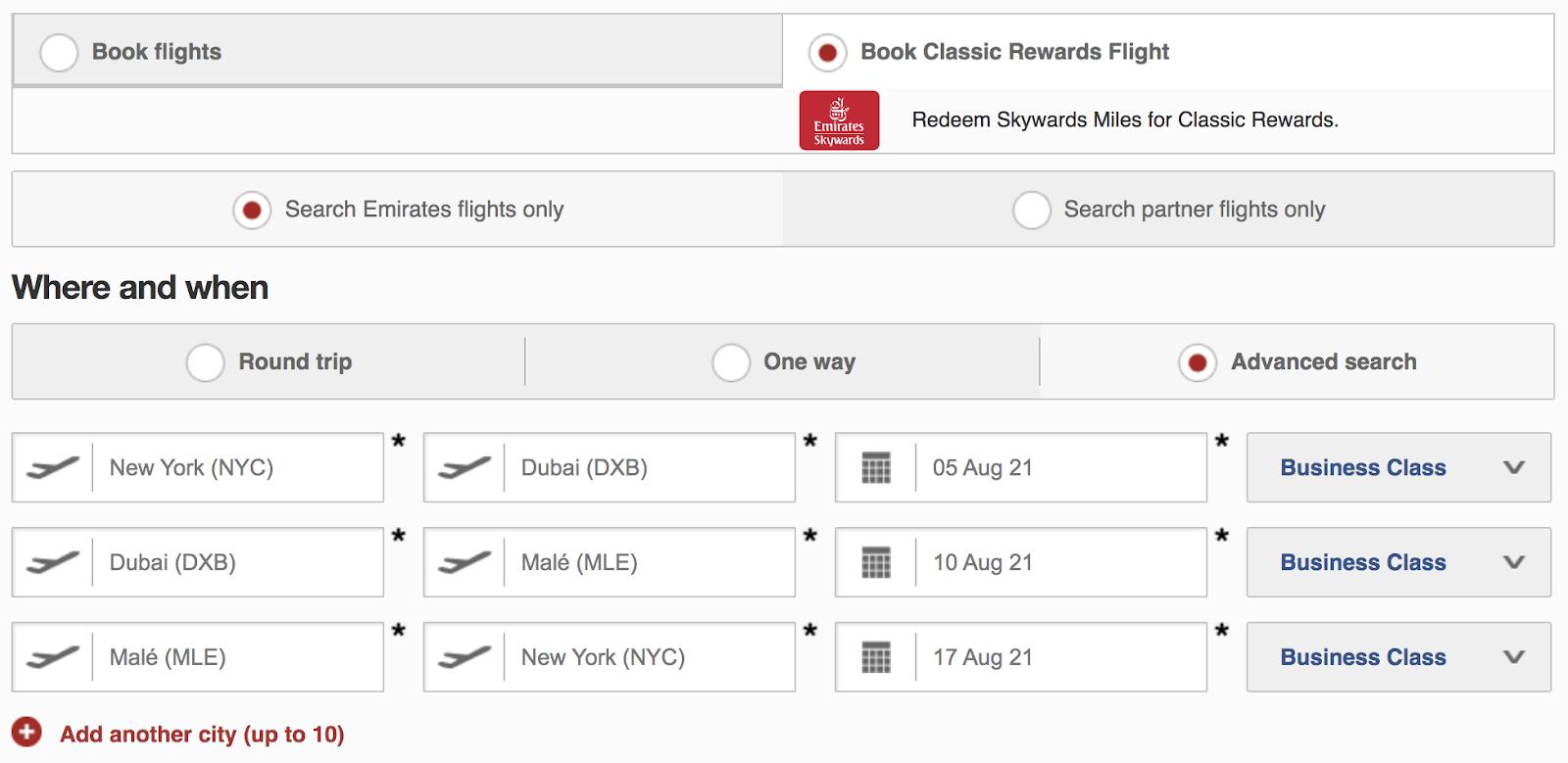 Booking a flight