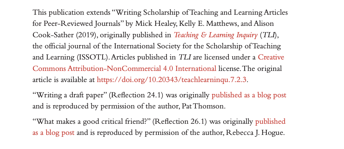Section of the copyright page from Writing about Learning and Teaching in Higher Education, showing permissions that were secured: an article from Teaching & Learning Inquiry written by the book authors, a blog post by Pat Thomson, and a blog post by Rebecca J. Hogue.