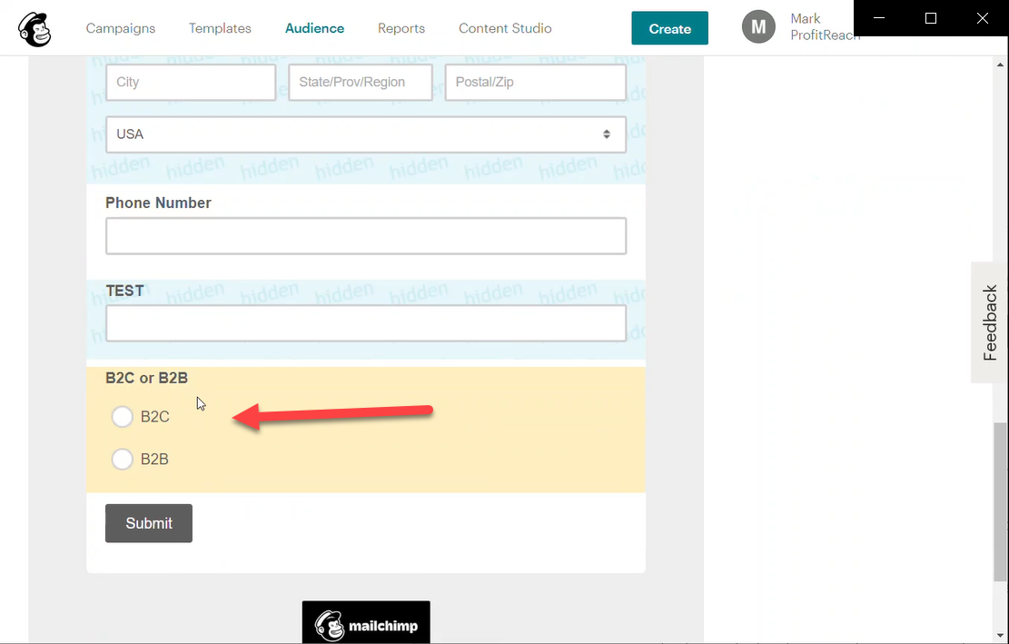 The B2B/B2C field shows up in the form below.