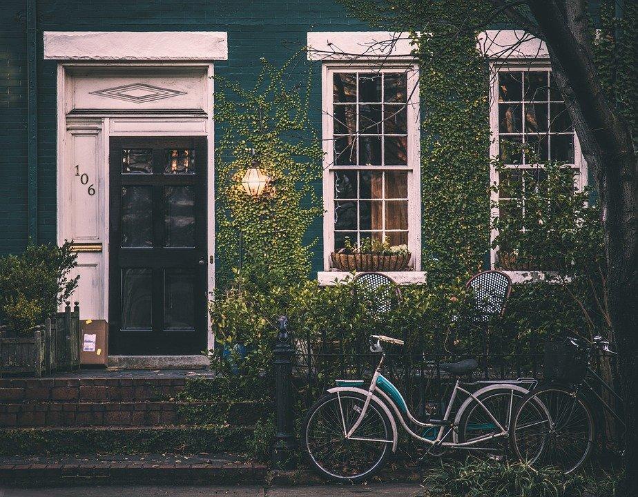 Vintage, Casa, Bicicleta, Home, Arquitetura, Exterior
