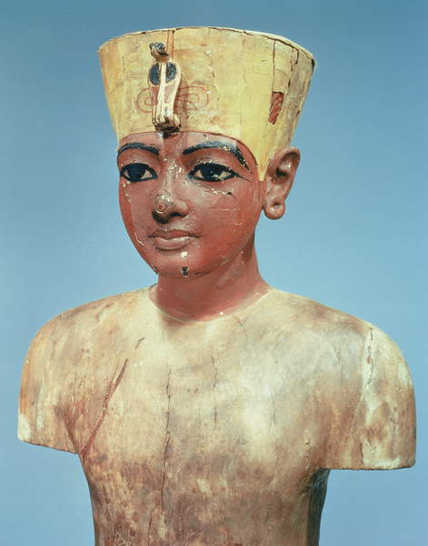 Image of 'Dummy' of the young Tutankhamun (c.1370-52 BC) wearing a compromise between the crown of the kings of Lower Egypt and the headdress of Nefertiti (painted & stuccoed wood), Egyptian 18th Dynasty (c.1567-1320 BC) / Egyptian, Egyptian National Museum, Cairo, Egypt, height: 76.2 cms, © Bridgeman Images