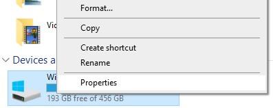 Properties option in C:/ Context menu