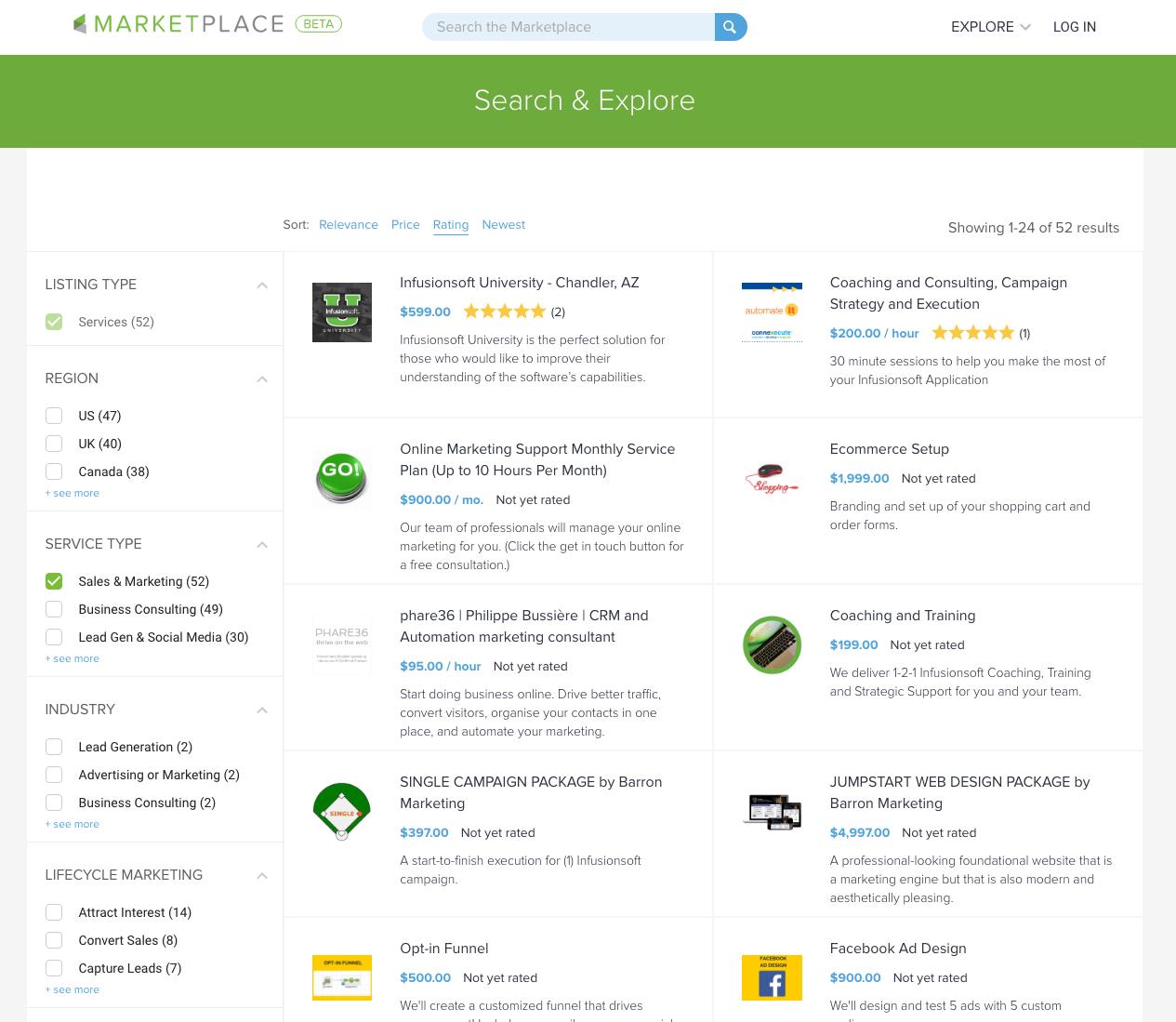 infusionsoft marketplace